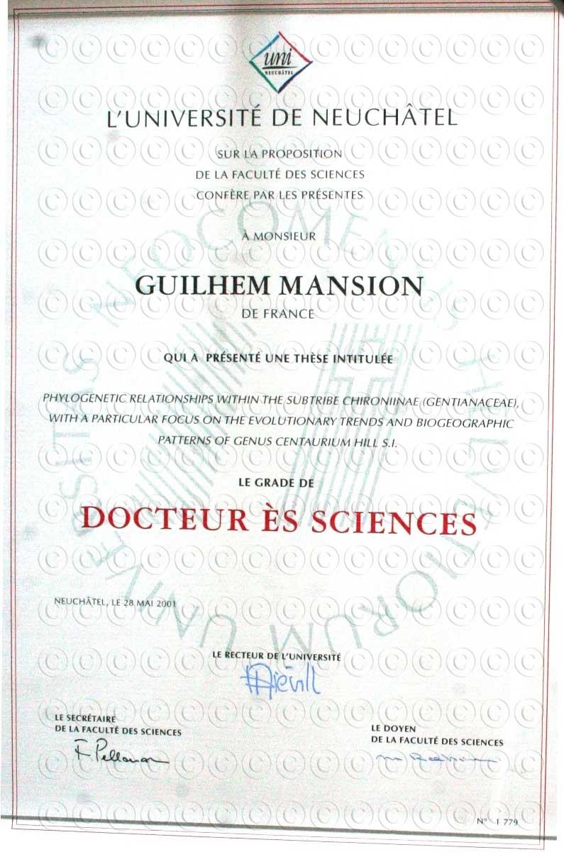 Doctorat Biologie 2001